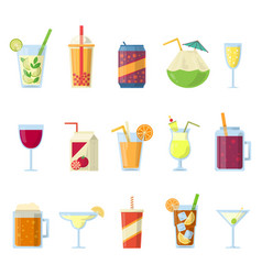 Different drinks in bottles and glasses vector