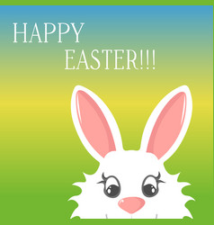 Easter bunny greeting card banner happy easter vector