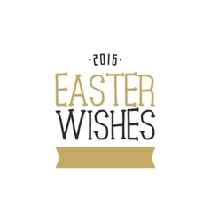 Easter wishes overlay lettering label design vector