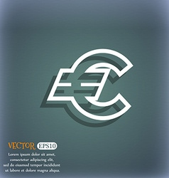 Euro EUR icon symbol on the blue-green abstract vector image