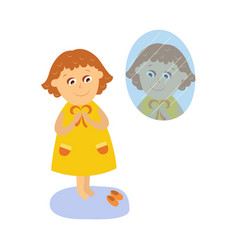 flat girl dressing in front of the mirror vector image
