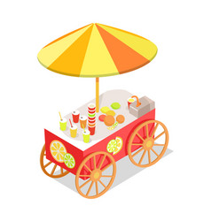 Fresh citrus juice trolley in isometric projection vector