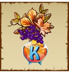Glass vase with berries and letter k vector