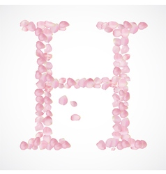 H letter Alphabet from pink petals of rose vector image