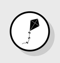 kite sign flat black icon in white circle vector image