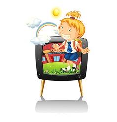 Little girl in school uniform vector image