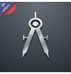 Mathematical compass icon symbol 3d style trendy vector