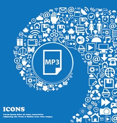mp3 icon Nice set of beautiful icons twisted vector image vector image