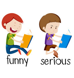 Opposite wordcard for funny and serious vector