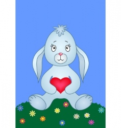 rabbit with heart vector image vector image