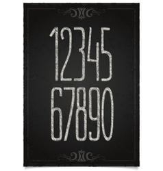 Retro numeric set on black chalkboard vector