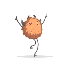 Round Furry Brown Monster Dancing At The Party vector image