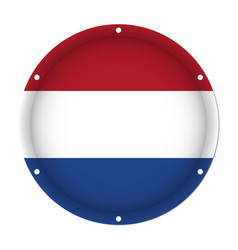 Round metallic flag with screw holes - netherlands vector