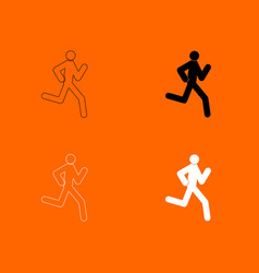 Running man - stick icon vector