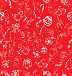 seamless white outline christmas pattern vector image