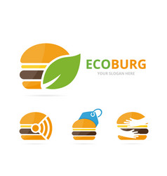 set of burger logo combination hamburger and eco vector image