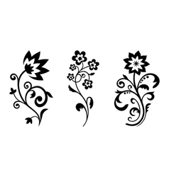 Silhouettes of abstract vintage flowers vector