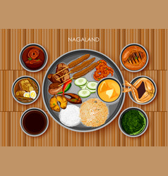 Traditional naga cuisine and food meal thali of vector