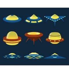 UFO spaceships flat icons set vector image