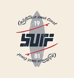 Vintage Surfing Emblem with original lettering vector image