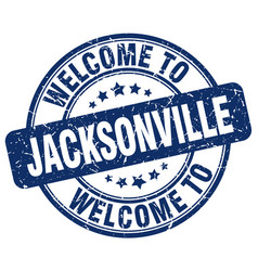 Welcome to jacksonville blue round vintage stamp vector
