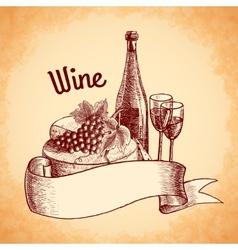 Wine sketch poster vector image vector image