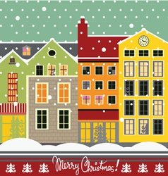 Winter street christmas card vector