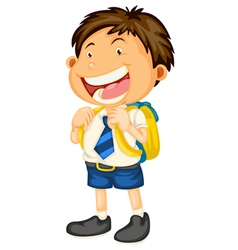 A boy going to school vector