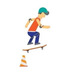 Skater with Skateboard in Flat Design vector image