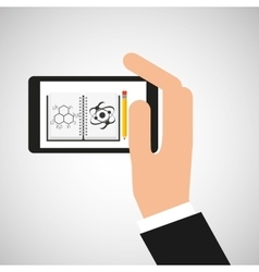 Hand hold smartphone molecule icon vector