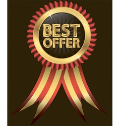 Best offer golden label with ribbon vector