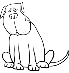 Funny big dog cartoon for coloring book vector