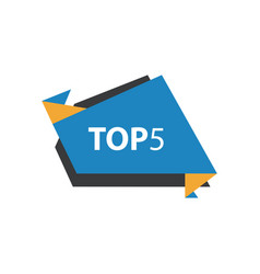 Top5 text in label blue yellow black vector