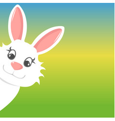 Easter bunny peers out happy easter vector