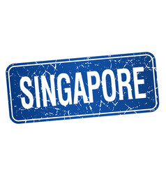Singapore blue stamp isolated on white background vector