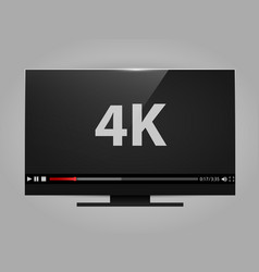 4k tv screen with video player digital wide vector image