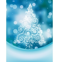Christmas Tree on bokeh Greeting Card EPS 10 vector image