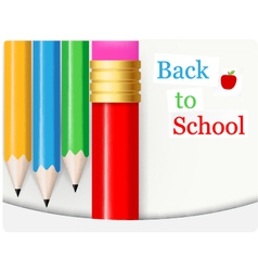 Back to School background with colorful pencil vector image