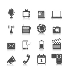 Media icons set vector