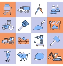 Construction icons set flat line vector