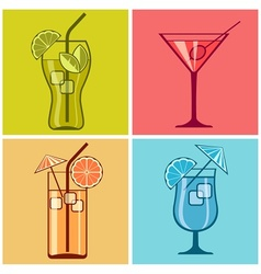Four cocktails on color vector