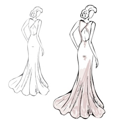 Romantic girl in a fashionable dress vector image