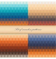 Set of seamless triangle patterns in warm colors vector