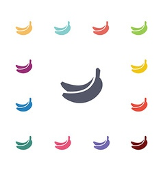 Banana flat icons set vector