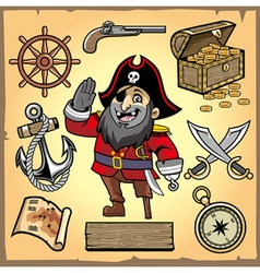 Set of pirate cartoon collection vector