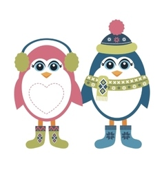Two penguins in winter vector