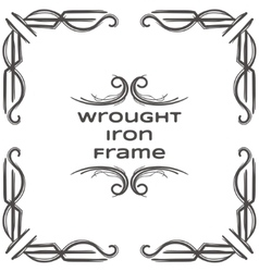 Wrought iron frame six vector