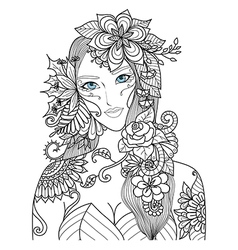 Flowers lady color vector