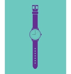 Blue trendy painted watch on a green background vector