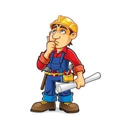 Cartoon Builder Thinking vector image